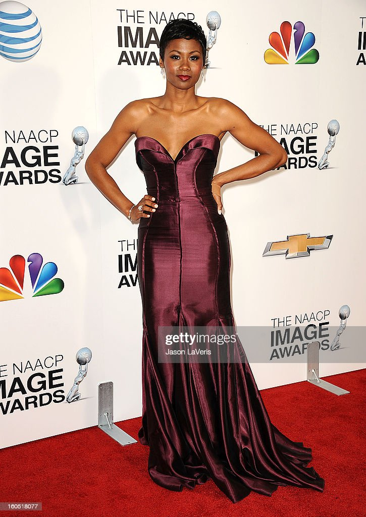 Emayatzy Corinealdi attends the 44th NAACP Image Awards at The Shrine Auditorium on February 1, 2013 in Los Angeles, California.