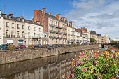 Embankment of river Vilaine in Rennes, Brittany, France