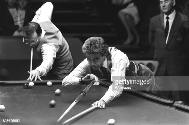 Embassey World Snooker Championship rivals Dennis Taylor and Canadian Cliff Thorburn in the same frame in the same frame in a contrived double...