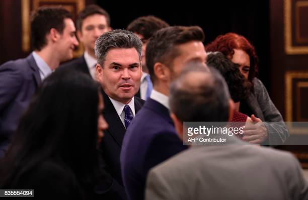 US embassy representative Brian Naranjo arrives for a meeting with the First VicePresident of the Venezuelan National Assembly Freddy Guevara and...