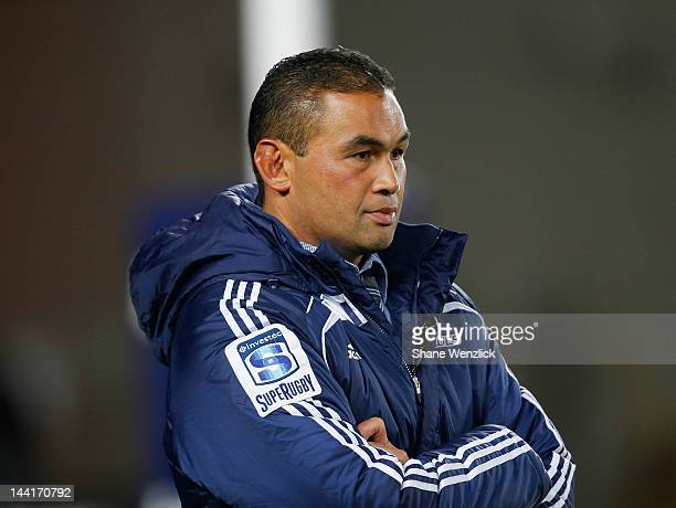Embattled Blues coach Pat Lam during the round 12 Super Rugby match between the Blues and the Lions at Eden Park on May 11 2012 in Auckland New...