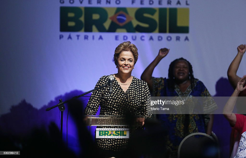 Embattled Brazilian President <a gi-track='captionPersonalityLinkClicked' href=/galleries/search?phrase=Dilma+Rousseff&family=editorial&specificpeople=1955968 ng-click='$event.stopPropagation()'>Dilma Rousseff</a> speaks at a women's conference on May 10, 2016 in Brasilia, Brazil. Rousseff is facing an impeachment vote in the Senate tomorrow that could force her to step down from the presidency for 180 days and face trial.
