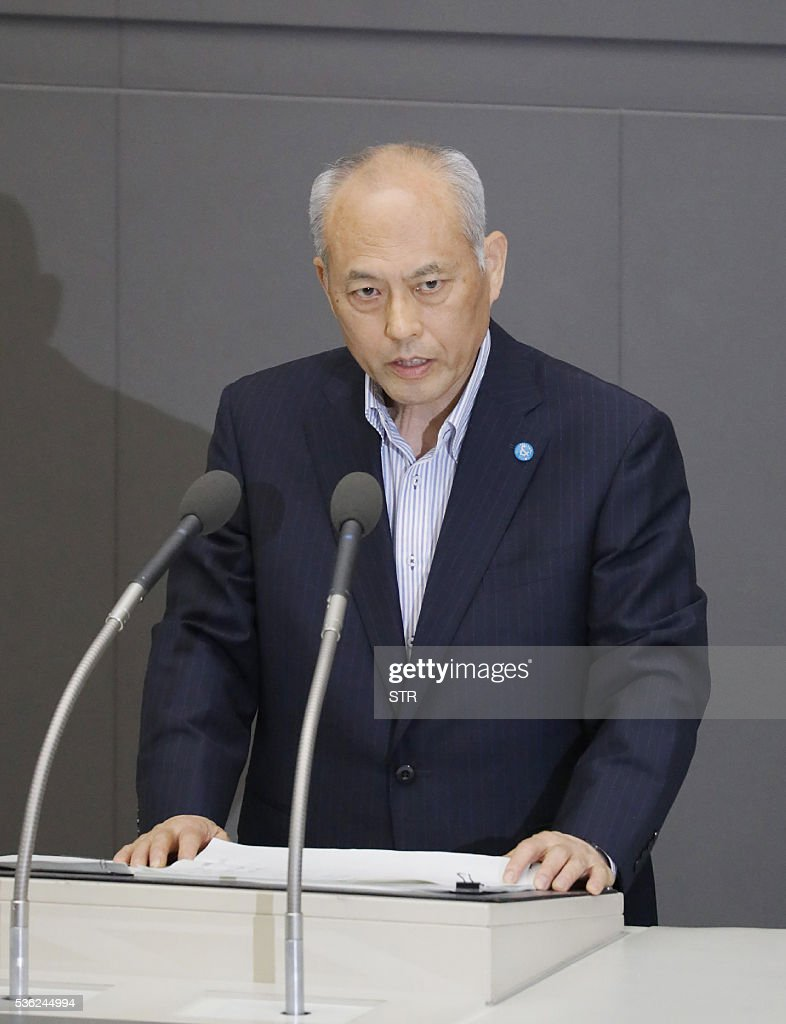 Embattled Tokyo governor Yoichi Masuzoe delivers a speech at the Tokyo metropolitan assembly on June 1, 2016. The head of 2020 Olympic host city Tokyo came under fire as he apologised June 1 over his lavish spending of public money on staying in spas and buying pyjamas. / AFP / JIJI PRESS / STR / Japan OUT
