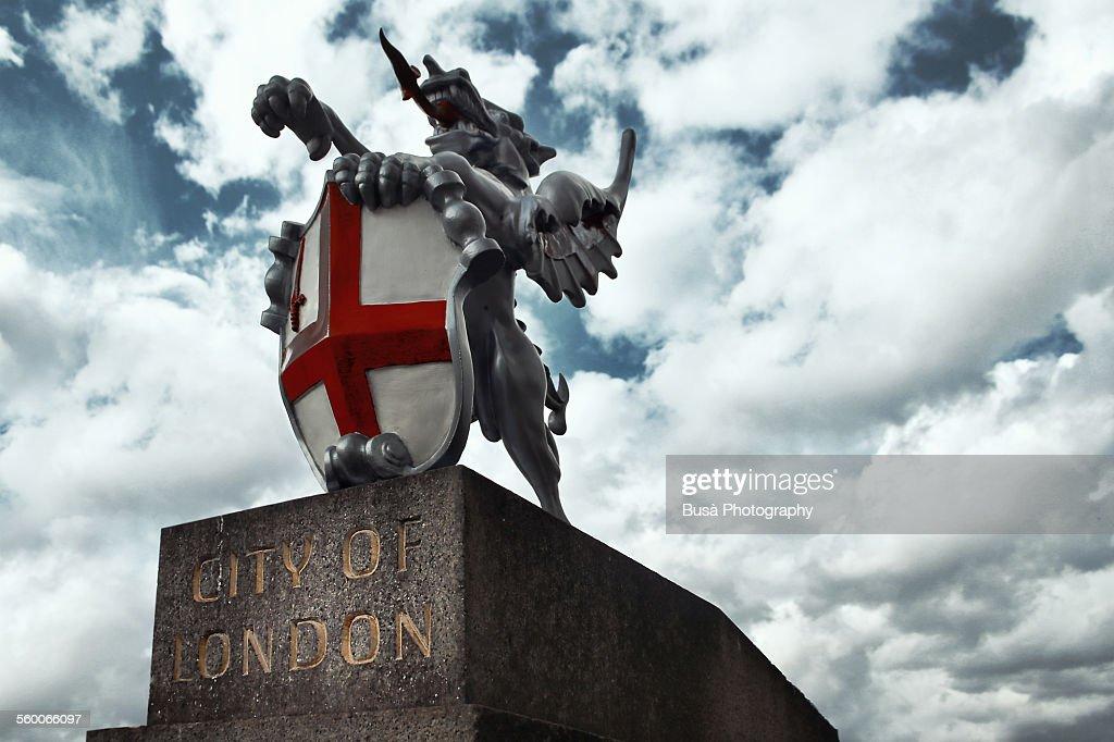 Emblem of the City of London, near London bridge