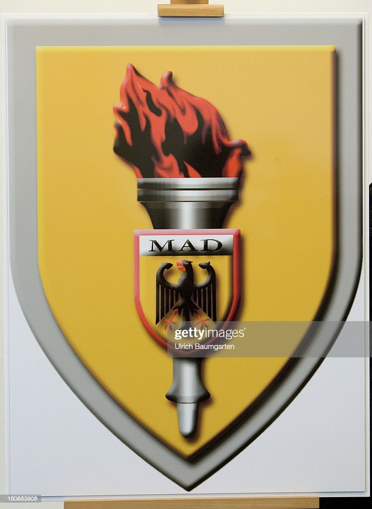 Emblem of the German Military Counter-Intelligence Service (MAD) on February 6, 2013 in Cologne, Germany. Defense Minister Thomas de Maiziere has rejected calls to shut down the Counter-Intelligence Agency despite fierce criticism from Ministers, following an investigation carried out by the Bundestag, for withholding information surrounding their recruitment of the NSU neo-Nazi terrorist Uwe Mundlos.