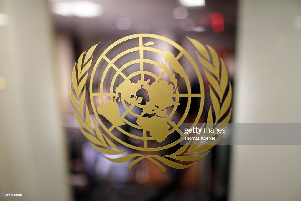 Emblem of the United Nations on a glass door at the United Nations Secretariat on September 24 in New York City United States Photo by Thomas...