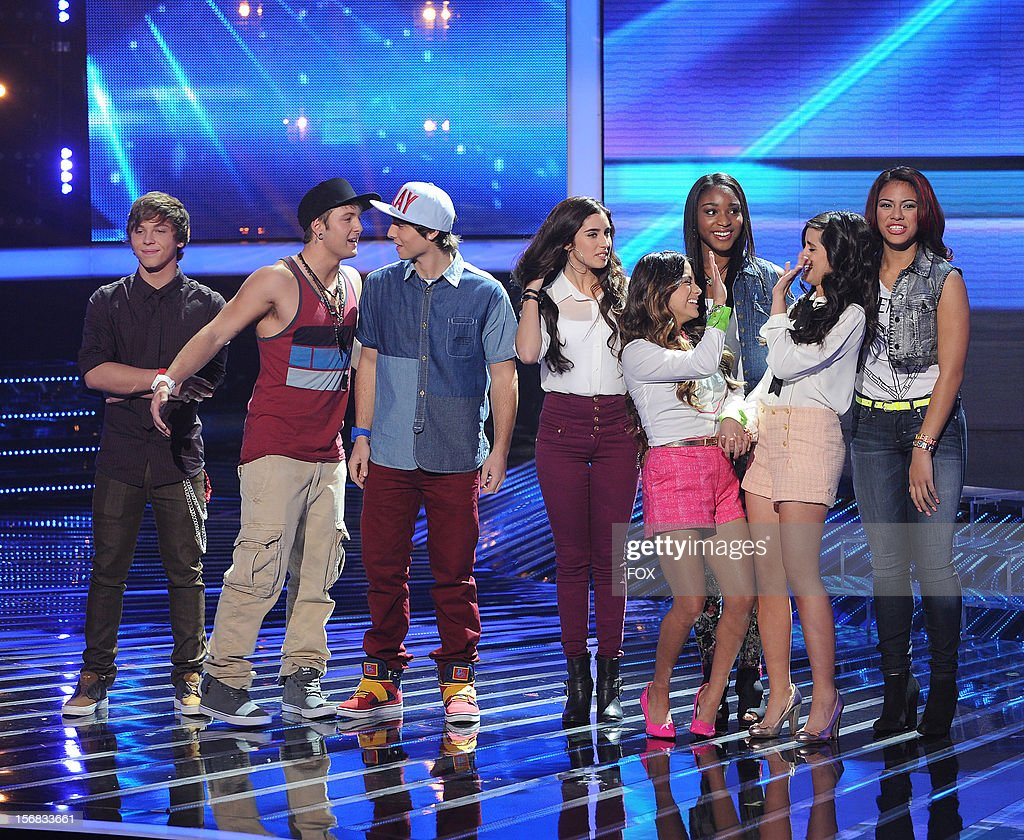 Emblem3 (L) and Fifth Harmony onstage at FOX's 'The X Factor' Season 2 Top 10 Live Performance Show on November 21, 2012 in Hollywood, California.