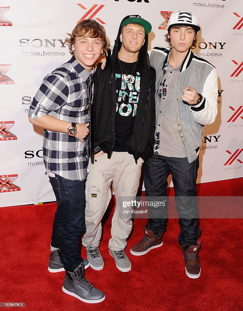 Emblem3 arrives at The X-Factor Viewing Party at on December 6, 2012 in Los Angeles, California.