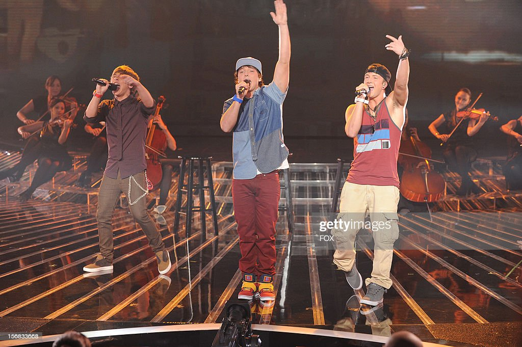 Emblem3 onstage at FOX's 'The X Factor' Season 2 Top 10 Live Performance Show on November 21, 2012 in Hollywood, California.