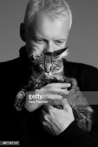 Embracing A Kitten (Black & White) : Stock Photo