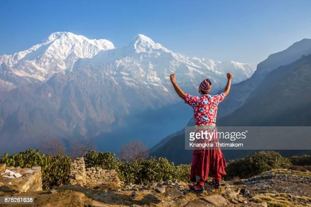 Embracing Himalayas ranges during Mardi Hemal Trekking in Nepal.