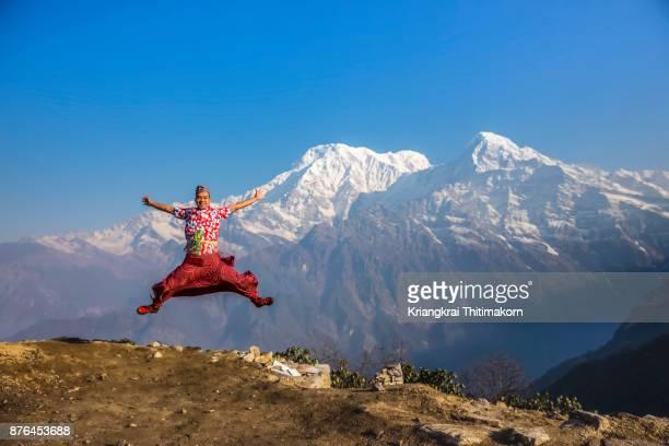 Embracing nature at Annapurna mountain ranges, Nepal.