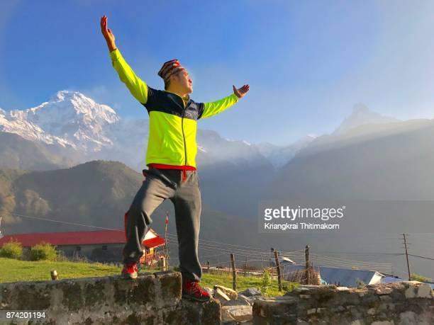 Embracing nature in Ghandruk village during Annapurna Based Camp Trekking in Nepal.