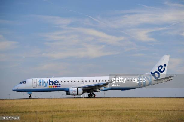 Embraer 190/195GFBEG belonging to the English airline Flybe on a runway of Roissy Charles de Gaulle Airport