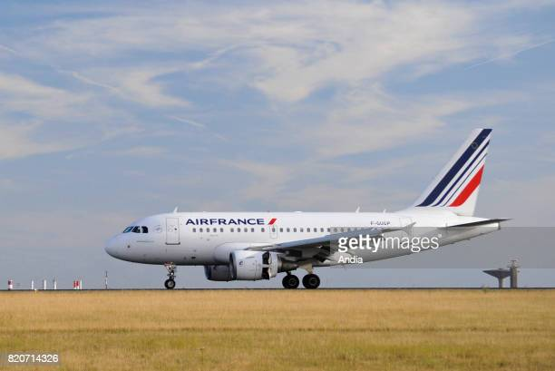 Embraer Airbus A318FGUGP belonging to the French airline Air France on a runway of Roissy Charles de Gaulle Airport