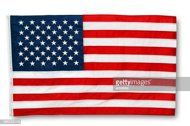 Embroided American Flag on White