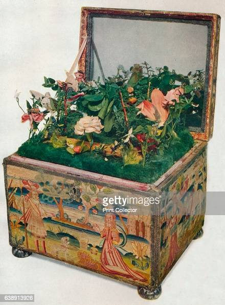 Embroidered Casket 17th Century' From Exhibition of English Decorative Art at Lansdowne House [The Collector London 1929] Artist Unknown