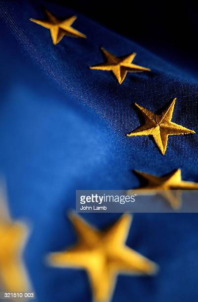 Embroidered European Union (EU) flag, close-up of stars