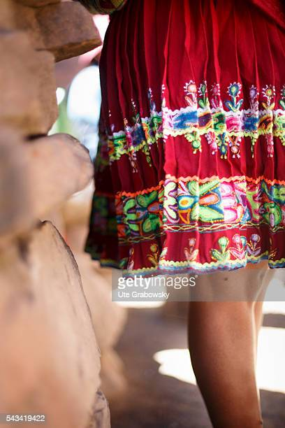 Embroidered skirt of a female farmer in the Andes of Bolivia on April 16 2016 in Tarwachapi Bolivia