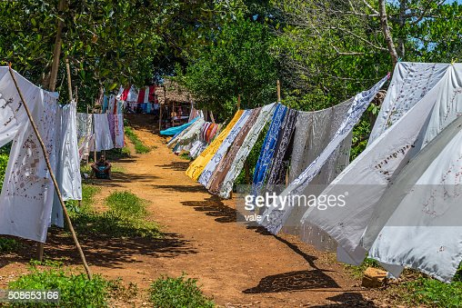 Embroidered tablecloths - Nosy Be, Madagascar : Stock Photo
