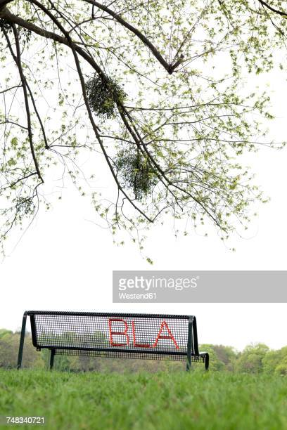 Embroidered word bla at bench