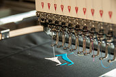Embroidery machine at work