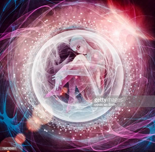Embryo floating in sphere in cyberspace