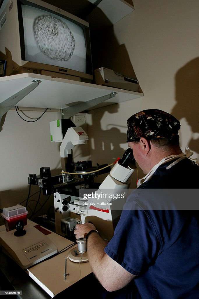 Embryologist Ric Ross extracts tissue mass from a human embryo at the La Jolla IVF Clinic February 28, 2007 in La Jolla, California. The clinic accepts donated embryos from around the country through The Stem Cell resource which are then given to stem cell research labs for research.