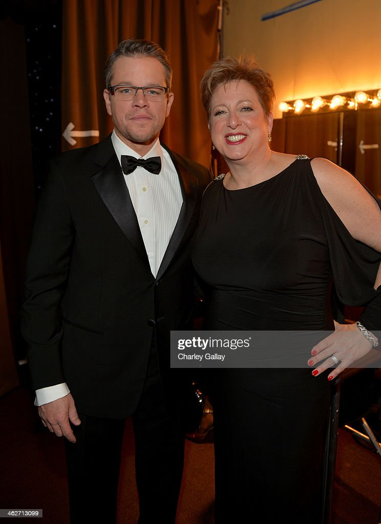 Emcee and Danny Kaye Humanitarian Peace Award presenter Matt Damon and Caryl Stern President CEO US Fund for UNICEF attend the 2014 UNICEF Ball...