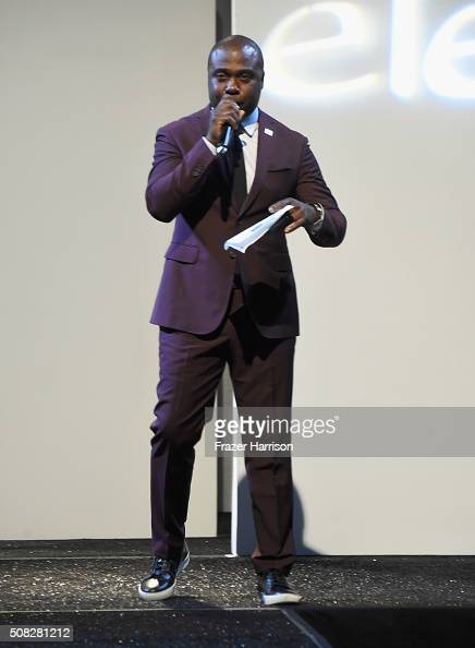 Emcee Marshall Faulk speaks onstage during Glazer Palooza and Suits and Sneakers on February 3 2016 in San Francisco California
