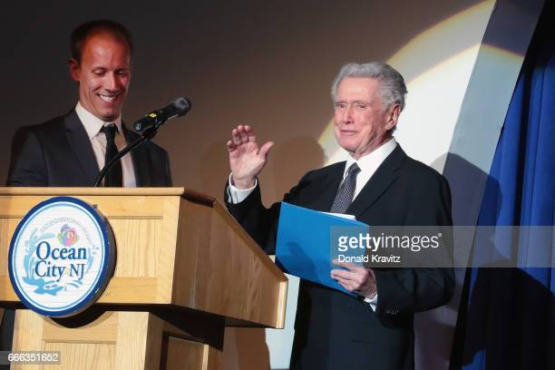 Emcee Michael Hartman joins host Regis Philbin as they welcome everyone to The Fourth Annual Mr Mature America Pageant held at Ocean City Music Pier...