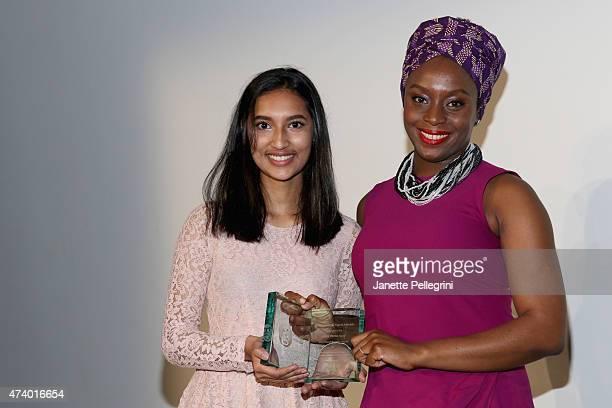 Emcee Thasfia Chowdhury and honoree Chimamanda Ngozi Adichie attend the Girls Write Now Awards honoring Chimamanda Ngozi Adichie Pamela Paul and Juju...