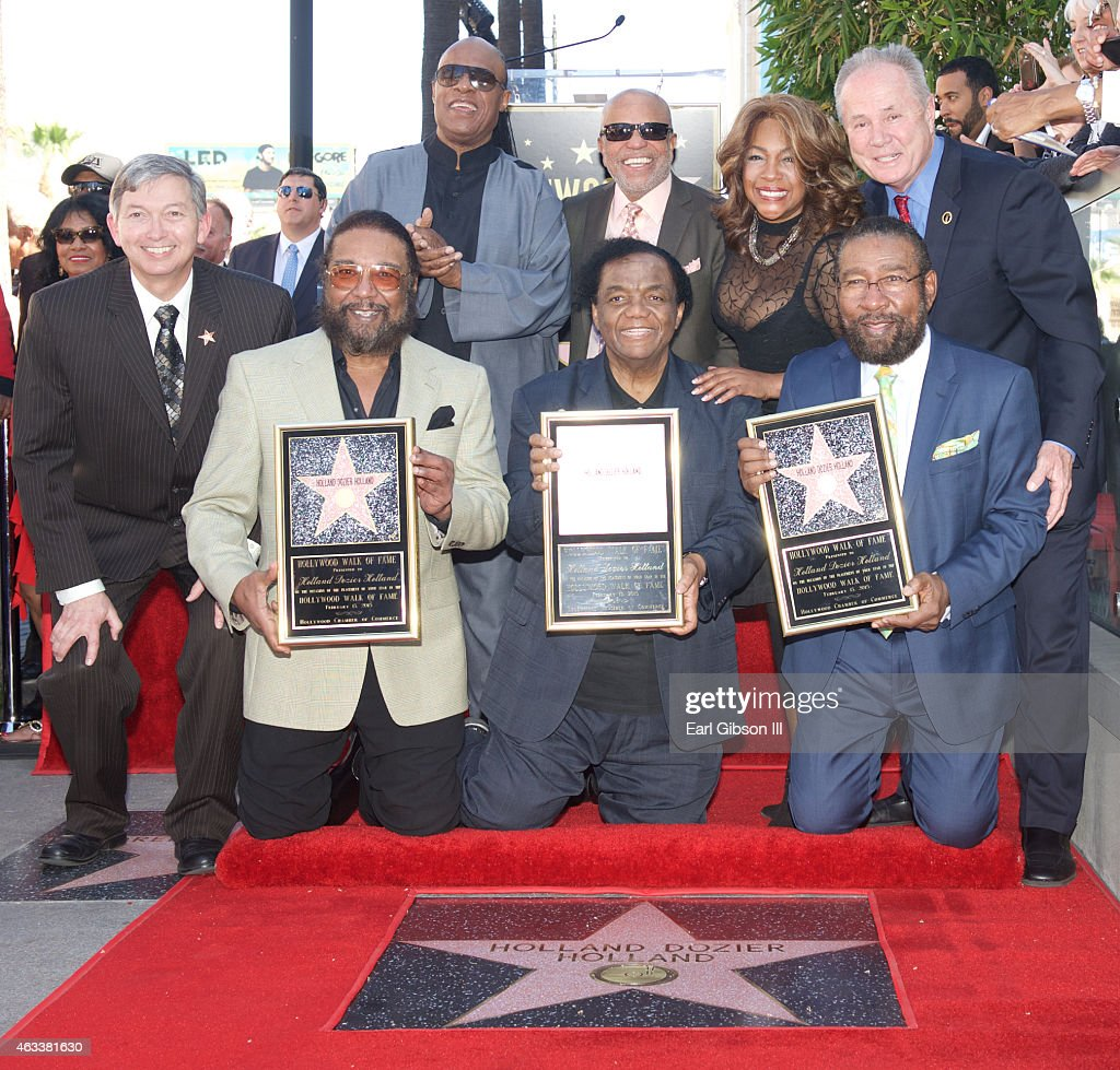Emcee/President Hollywood Chamber of Commerce Leron Gubler, Eddie Holland, Lamont Dozier, Brian Holland, Singer/Songwriter Stevie Wonder, Record Producer Berry Gordy, Singer Mary Wilson and Councilman Tom LaBonge attend The Hollywood Walk of Fame ceremony honoring Brian Holland, Lamont Dozier And Eddie Holland at Hollywood Walk Of Fame on February 13, 2015 in Hollywood, California.