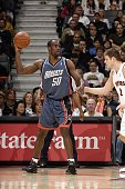 Emeka Okafor of the Charlotte Bobcats looks for an open pass during the game against the Toronto Raptors at Air Canada Centre on April 1 2007 in...