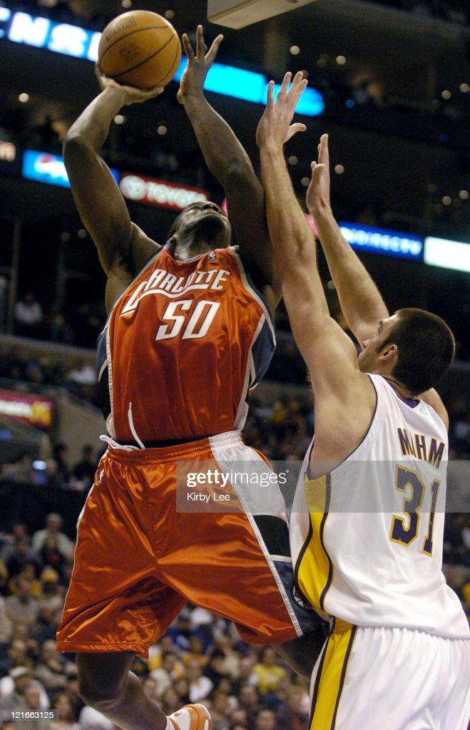 Emeka Okafor of the Charlotte Bobcats takes a shot during the NBA game between the Los Angeles Lakers and the Charlotte Bobcats at the Staples Center...