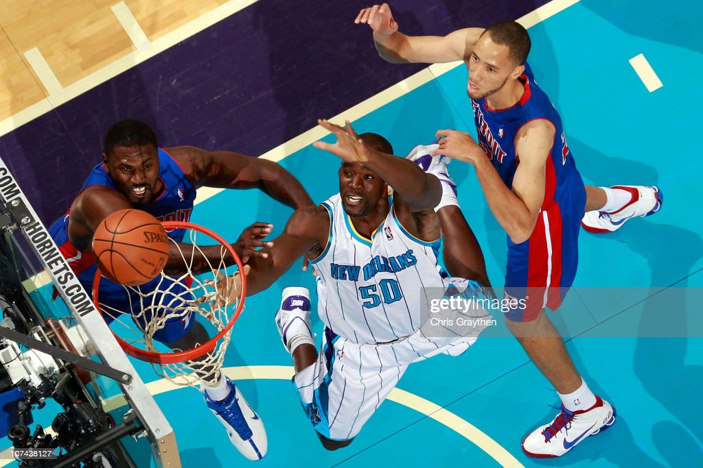 <a gi-track='captionPersonalityLinkClicked' href=/galleries/search?phrase=Emeka+Okafor&family=editorial&specificpeople=201739 ng-click='$event.stopPropagation()'>Emeka Okafor</a> #50 of the New Orleans Hornets fights for a rebound with <a gi-track='captionPersonalityLinkClicked' href=/galleries/search?phrase=Tayshaun+Prince&family=editorial&specificpeople=201553 ng-click='$event.stopPropagation()'>Tayshaun Prince</a> #22 of the Detroit Pistons at the New Orleans Arena on December 8, 2010 in New Orleans, Louisiana.