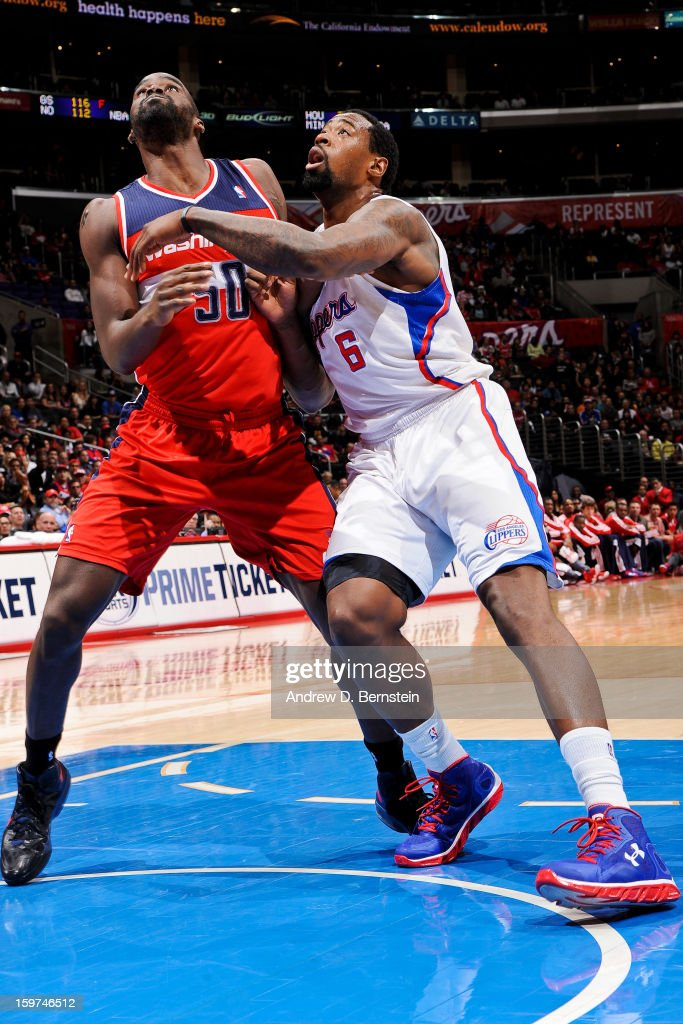 Emeka Okafor #50 of the Washington Wizards battles for rebound position against DeAndre Jordan #6 of the Los Angeles Clippers at Staples Center on January 19, 2013 in Los Angeles, California.