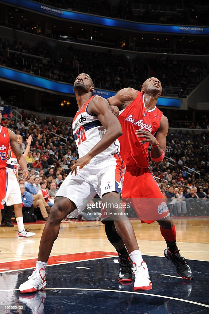 <a gi-track='captionPersonalityLinkClicked' href=/galleries/search?phrase=Emeka+Okafor&family=editorial&specificpeople=201739 ng-click='$event.stopPropagation()'>Emeka Okafor</a> #50 of the Washington Wizards boxes out <a gi-track='captionPersonalityLinkClicked' href=/galleries/search?phrase=Lamar+Odom&family=editorial&specificpeople=201519 ng-click='$event.stopPropagation()'>Lamar Odom</a> #7 of the Los Angeles Clippers on February 4, 2013 at the Verizon Center in Washington, DC.