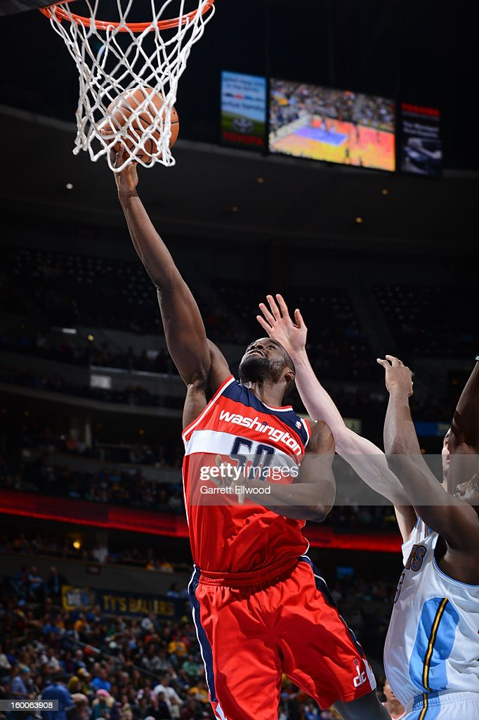 Emeka Okafor #50 of the Washington Wizards drives to the basket against the Denver Nuggets on January 18, 2013 at the Pepsi Center in Denver, Colorado.