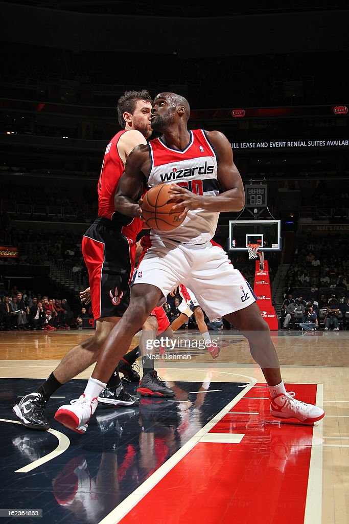 <a gi-track='captionPersonalityLinkClicked' href=/galleries/search?phrase=Emeka+Okafor&family=editorial&specificpeople=201739 ng-click='$event.stopPropagation()'>Emeka Okafor</a> #50 of the Washington Wizards drives to the basket against the Toronto Raptors at the Verizon Center on February 19, 2013 in Washington, DC.