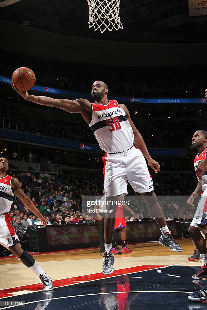 <a gi-track='captionPersonalityLinkClicked' href=/galleries/search?phrase=Emeka+Okafor&family=editorial&specificpeople=201739 ng-click='$event.stopPropagation()'>Emeka Okafor</a> #50 of the Washington Wizards drives to the basket against the Philadelphia 76ers at the Verizon Center on March 3, 2013 in Washington, DC.