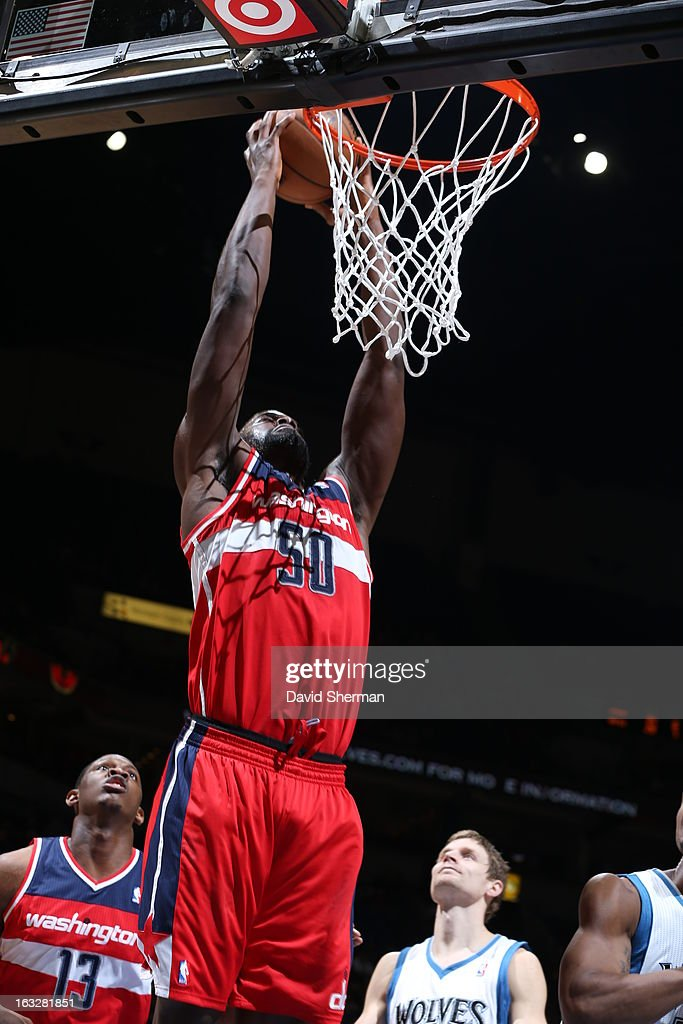 Emeka Okafor #50 of the Washington Wizards dunks against the Minnesota Timberwolves on March 6, 2013 at Target Center in Minneapolis, Minnesota.