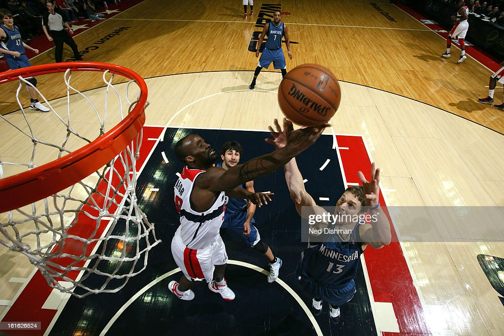 <a gi-track='captionPersonalityLinkClicked' href=/galleries/search?phrase=Emeka+Okafor&family=editorial&specificpeople=201739 ng-click='$event.stopPropagation()'>Emeka Okafor</a> #50 of the Washington Wizards grabs a rebound against the Minnesota Timberwolves at the Verizon Center on January 25, 2013 in Washington, DC.