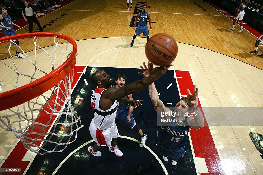 Emeka Okafor #50 of the Washington Wizards grabs a rebound against the Minnesota Timberwolves at the Verizon Center on January 25, 2013 in Washington, DC.