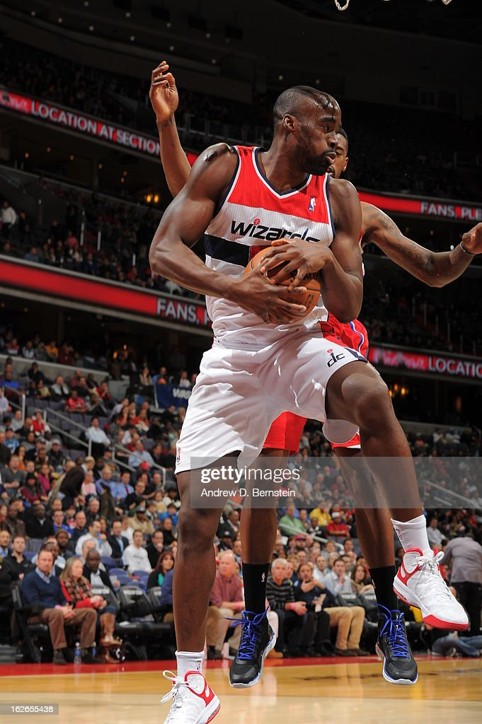 Emeka Okafor #50 of the Washington Wizards grabs a rebound against the Los Angeles Clippers on February 4, 2013 at the Verizon Center in Washington, DC.