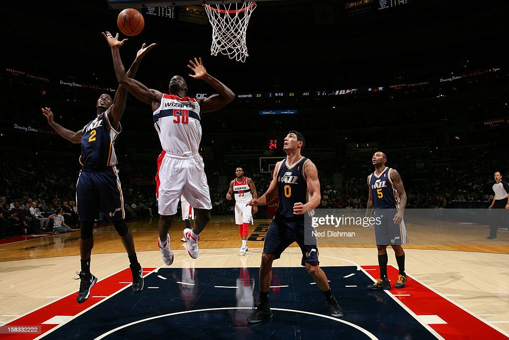 <a gi-track='captionPersonalityLinkClicked' href=/galleries/search?phrase=Emeka+Okafor&family=editorial&specificpeople=201739 ng-click='$event.stopPropagation()'>Emeka Okafor</a> #50 of the Washington Wizards grabs a rebound over <a gi-track='captionPersonalityLinkClicked' href=/galleries/search?phrase=Marvin+Williams&family=editorial&specificpeople=206784 ng-click='$event.stopPropagation()'>Marvin Williams</a> #2 of the Utah Jazz at the Verizon Center on November 17, 2012 in Washington, DC.
