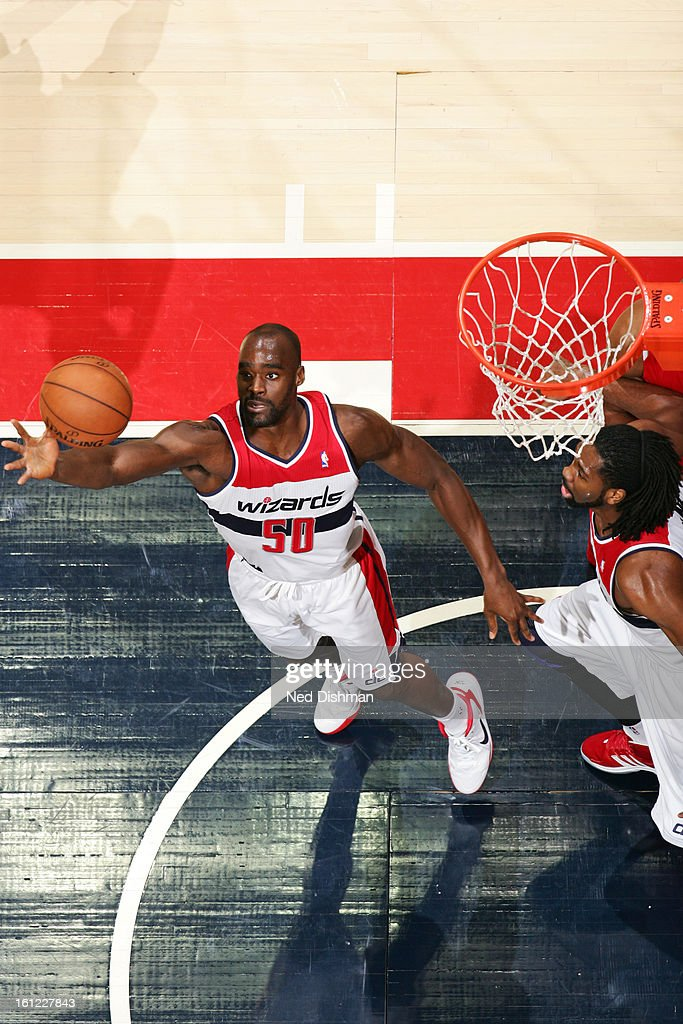 Emeka Okafor #50 of the Washington Wizards grabs the ball against the Atlanta Hawks during the game at the Verizon Center on January 12, 2013 in Washington, DC.