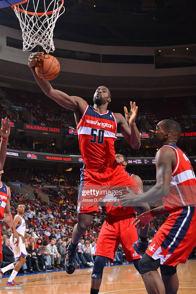 Emeka Okafor #50 of the Washington Wizards grabs the rebound against the Philadelphia 76ers at the Wells Fargo Center on January 30, 2013 in Philadelphia, Pennsylvania.