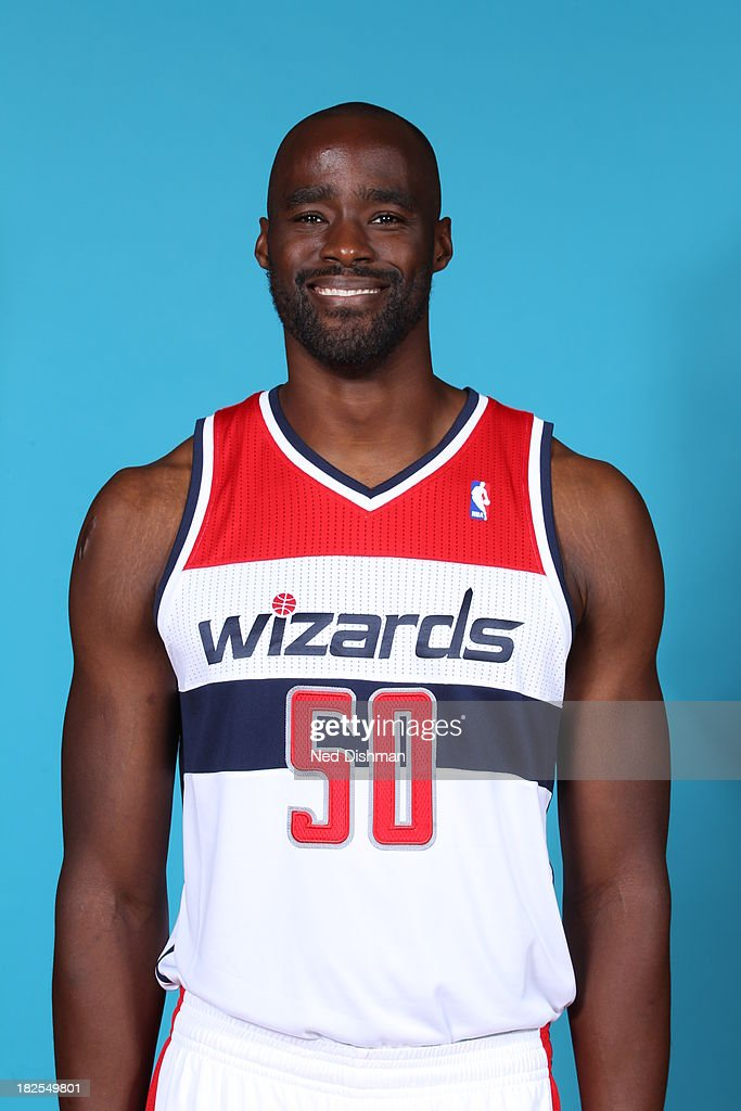 Emeka Okafor of the Washington Wizards poses for a portrait during 2013 NBA Media Day at the Verizon Center on September 27 2013 in Washington DC...