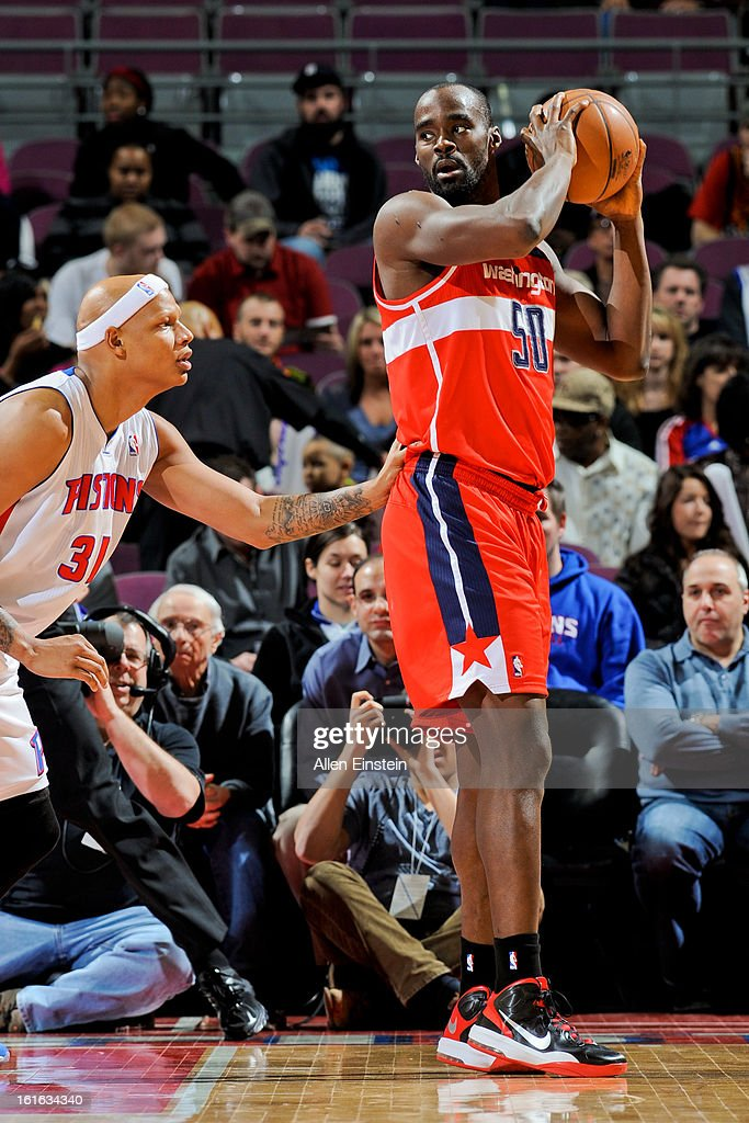Emeka Okafor #50 of the Washington Wizards posts up against Charlie Villanueva #31 of the Detroit Pistons on February 13, 2013 at The Palace of Auburn Hills in Auburn Hills, Michigan.